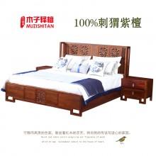 红木床1.8米双人床新中式刺猬紫檀花梨木实木打苏梨京瓷同款设计