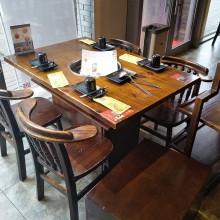经济型下沉式箱体实木复古电磁炉煤气灶火锅 炭烧木火锅桌椅