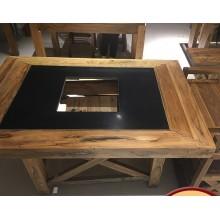 老榆木智能无烟净化火锅桌椅下沉电磁炉大渝火锅烧烤一体桌