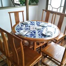 中国风青花瓷餐桌酒店圆桌 桂满陇中式饭店仿古桌椅卡座组合