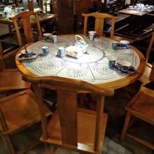 中式徽派复古餐厅青花瓷餐桌桂满陇主题饭店酒店实木桌椅卡座定制
