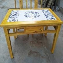中式实木八仙桌商用餐厅饭店餐椅组合吃饭桌仿古榆木青花瓷镶嵌