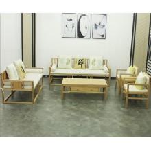 新中式原木色沙发现代中式实木沙发组合古典禅意酒店别墅客厅家具