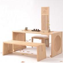 新中式原木茶桌禅意新中式白蜡木茶室茶桌椅组合实木茶台现代民宿
