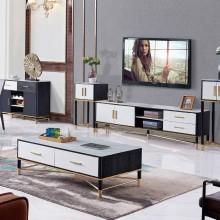 大理石茶几电视柜组合套装现代简约小户型客厅北欧伸缩电视机柜