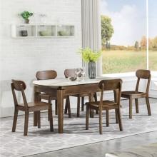 大理石圆形餐桌椅组合现代简约折叠