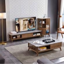 北欧大理石电视柜茶几组合套装简约现代创意伸缩小户型电视机柜