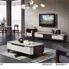 组合套装简约现代创意伸缩小户型电视机柜北欧大理石电视柜茶几