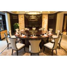 酒店电动大圆桌12人20人会所自动旋转餐桌椅新中式