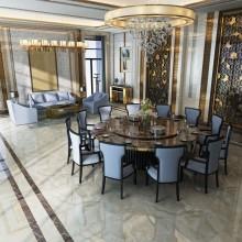 酒店包间大圆桌8-20人大小包间 餐桌椅大理石桌面