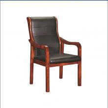 实木会议椅职员办公椅人体工学电脑椅带扶手培训椅皮革班前椅